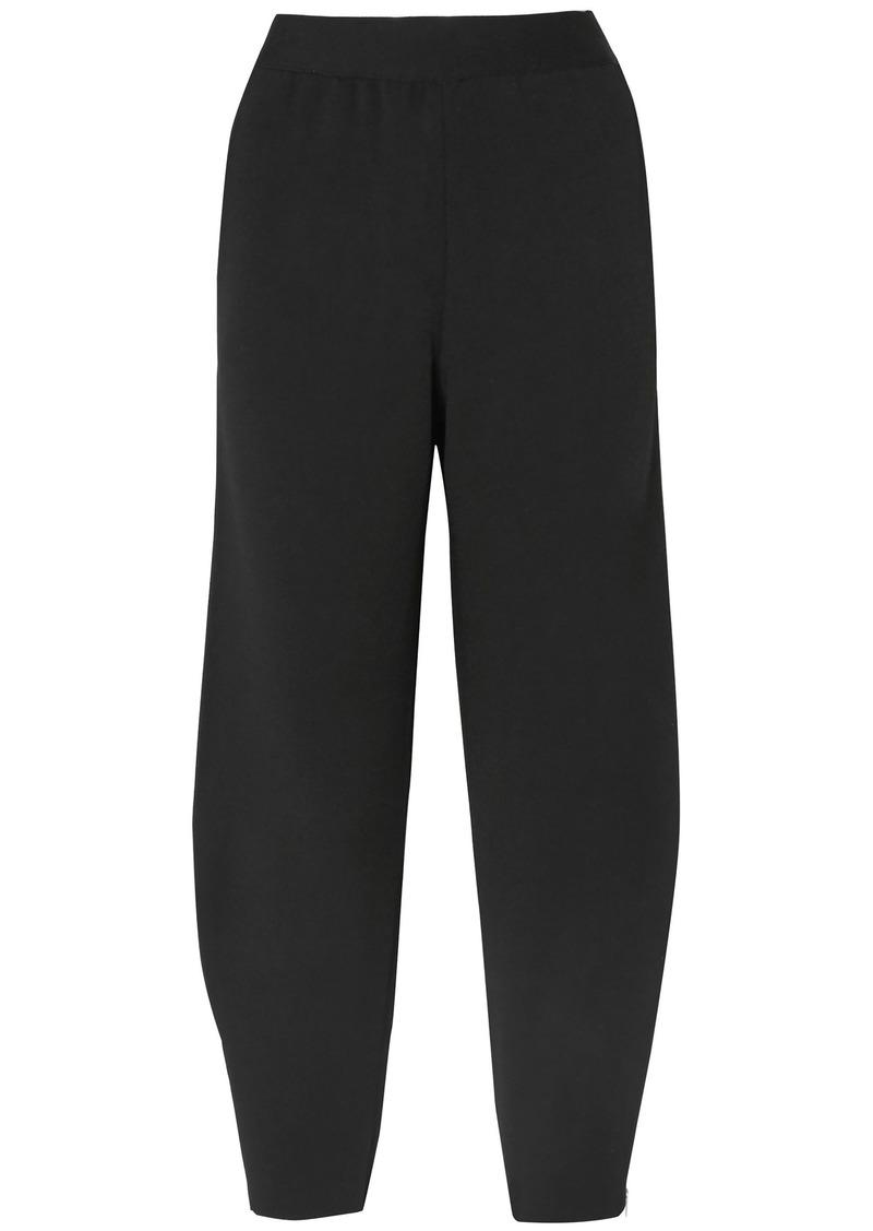 Stella Mccartney Woman Cropped Stretch-knit Tapered Pants Black