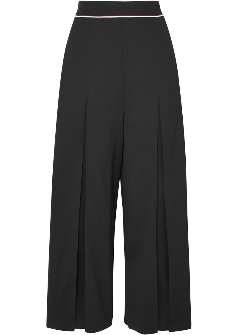 Stella Mccartney Woman Cropped Wool-crepe Wide-leg Pants Black