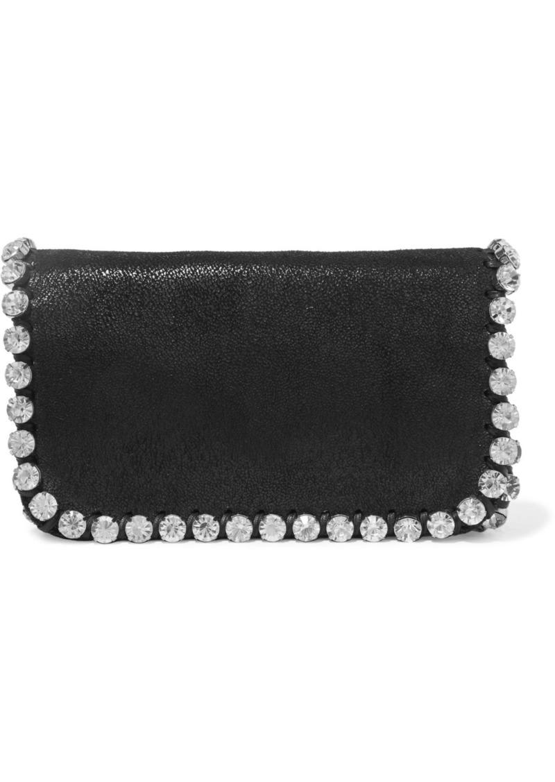 Stella Mccartney Woman Crystal-embellished Faux Brushed-leather Shoulder Bag Black