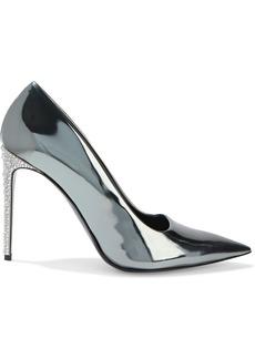 Stella Mccartney Woman Crystal-embellished Faux Mirrored-leather Pumps Gunmetal