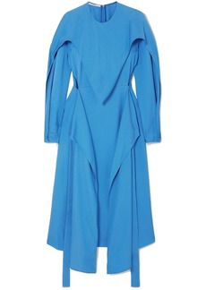 Stella Mccartney Woman Cutout Draped Cady Midi Dress Blue