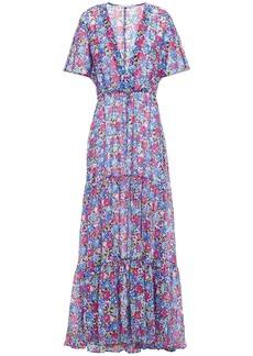 Stella Mccartney Woman Cutout Printed Cotton And Silk-blend Maxi Dress Blue