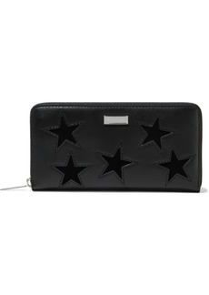 Stella Mccartney Woman Cutout Velvet And Faux Leather Continental Wallet Black