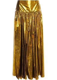 Stella Mccartney Woman Cynthia Gathered Silk-blend Lamé-jacquard Maxi Skirt Gold