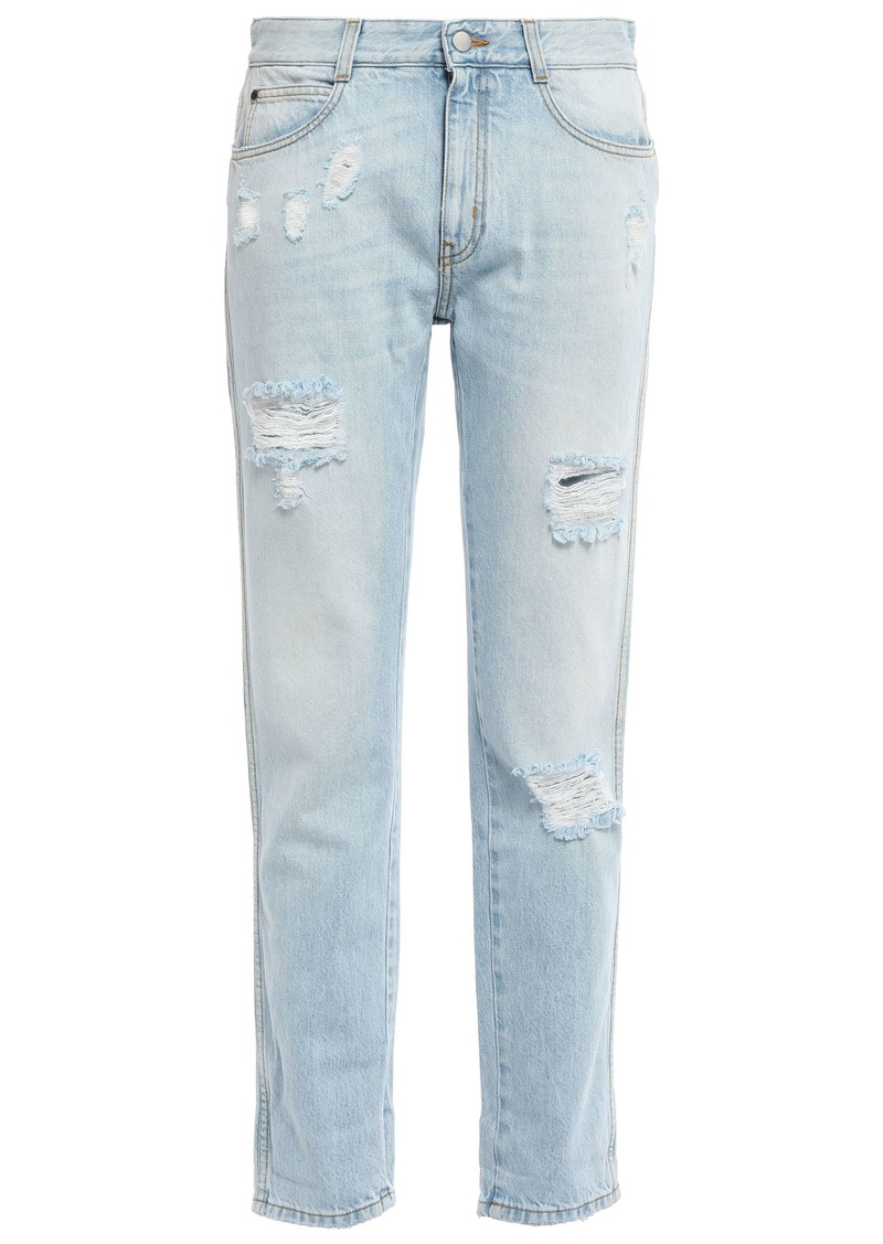 Stella Mccartney Woman Distressed Mid-rise Straight-leg Jeans Light Denim
