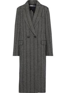 Stella Mccartney Woman Double-breasted Herringbone Wool-blend Coat Black