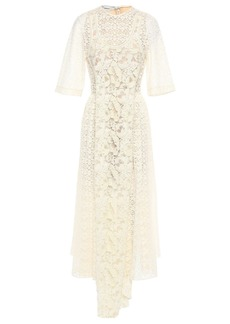 Stella Mccartney Woman Draped Embellished Lace Midi Dress Ivory