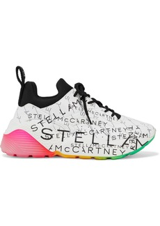 Stella Mccartney Woman Eclypse Monogram Neoprene-trimmed Printed Faux Leather Exaggerated-sole Sneakers White
