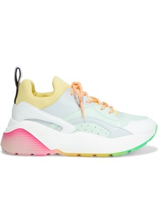 Stella Mccartney Woman Eclypse Neoprene And Faux Leather Exaggerated-sole Sneakers Mint