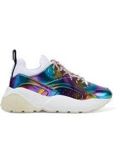 Stella Mccartney Woman Eclypse Neoprene And Holographic Faux Leather Exaggerated-sole Sneakers Multicolor
