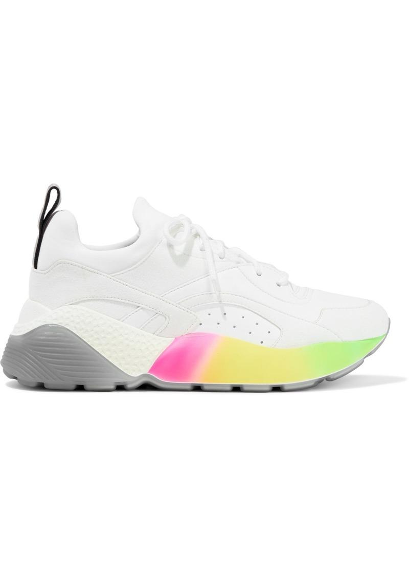 Stella Mccartney Woman Eclypse Neoprene Faux Suede And Faux Leather Sneakers White