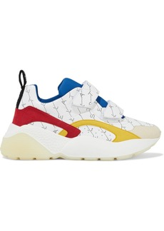 Stella Mccartney Woman Eclypse Printed Faux Leather And Suede Exaggerated-sole Sneakers White