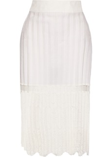 Stella Mccartney Woman Elisha Pleated Cotton-blend And Embroidered Tulle Skirt Off-white