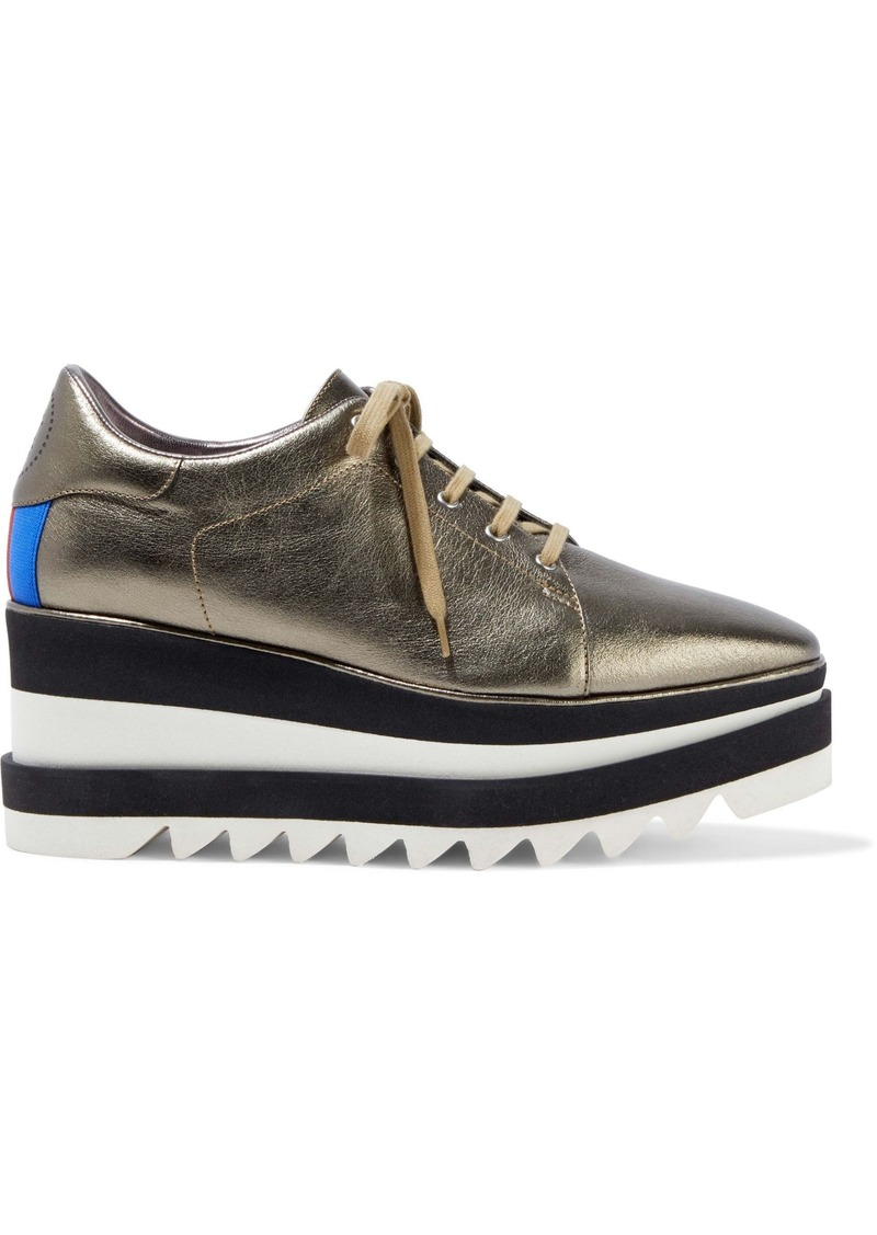 Stella Mccartney Woman Elyse Metallic Faux Leather Platform Sneakers Brass