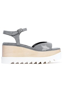Stella Mccartney Woman Elyse Metallic-trimmed Denim Platform Sandals Gray