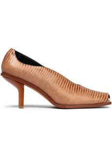 Stella Mccartney Woman Embellished Faux Croc-effect Leather Pumps Light Brown