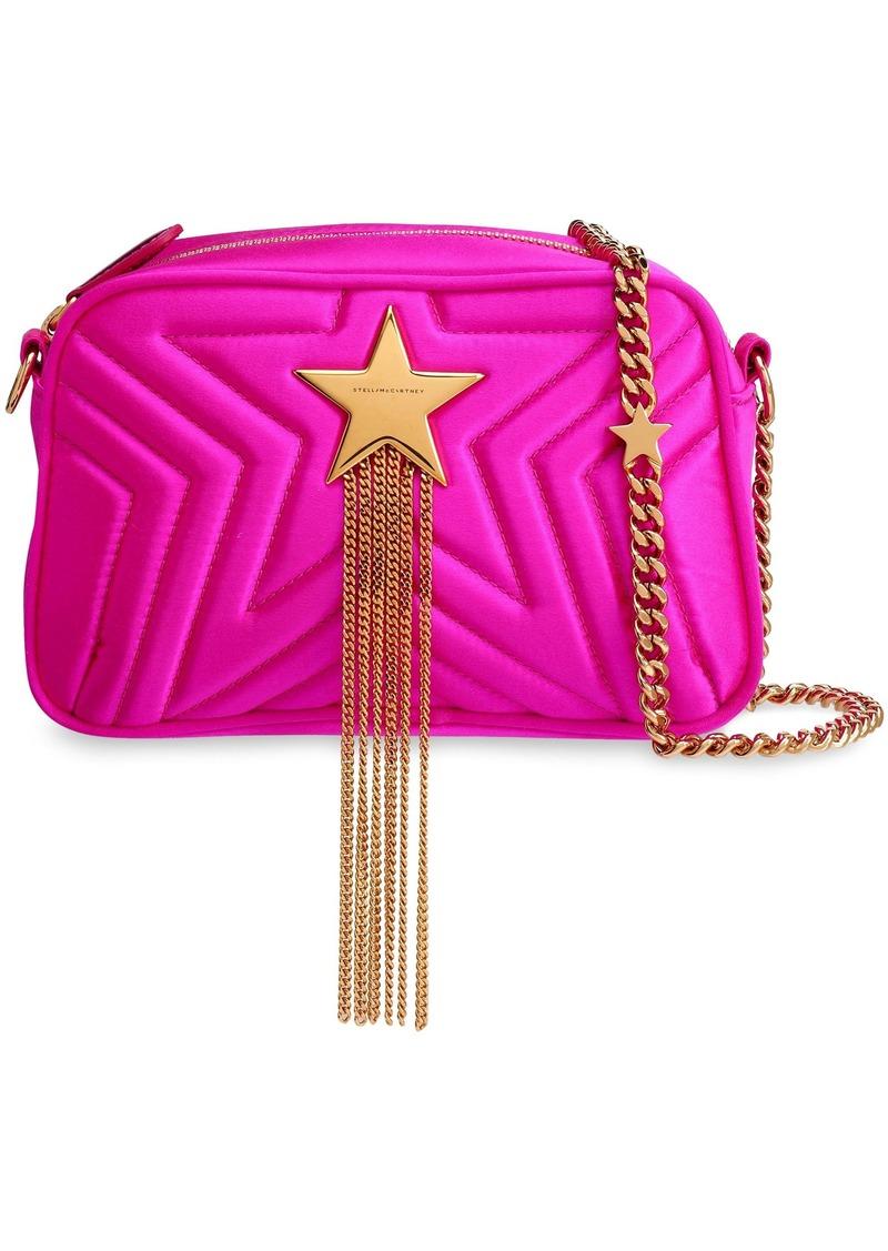 Stella Mccartney Woman Embellished Quilted Satin Shoulder Bag Bright Pink