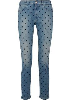 Stella Mccartney Woman Embroidered Low-rise Slim-leg Jeans Mid Denim