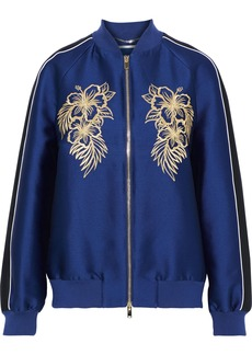 Stella Mccartney Woman Embroidered Satin Bomber Jacket Indigo