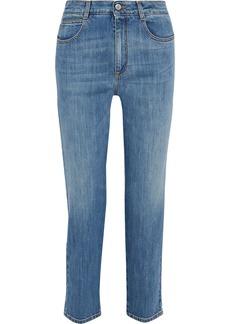 Stella Mccartney Woman Faded High-rise Slim-leg Jeans Mid Denim