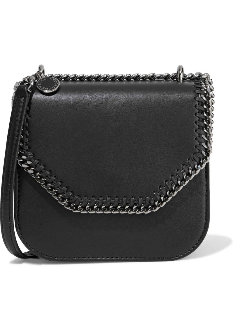 Stella Mccartney Woman Falabella Box Chain-trimmed Faux Leather Shoulder Bag Black