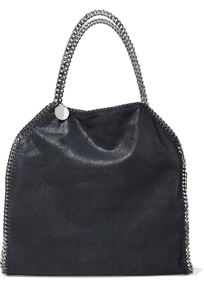 Stella Mccartney Woman Falabella Chain-trimmed Faux Brushed-leather Tote Midnight Blue