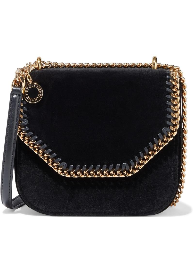 Stella Mccartney Woman Falabella Chain-trimmed Velvet Shoulder Bag Black