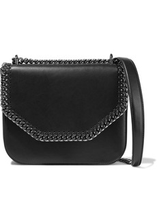 Stella Mccartney Woman Falabella Box Chain-trimmed Faux Leather Shoulder Bag Black