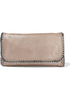 Stella Mccartney Woman Falabella Metallic Faux Brushed-leather Clutch Mushroom