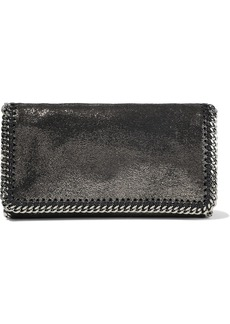 Stella Mccartney Woman Falabella Metallic Faux Brushed-leather Clutch Anthracite