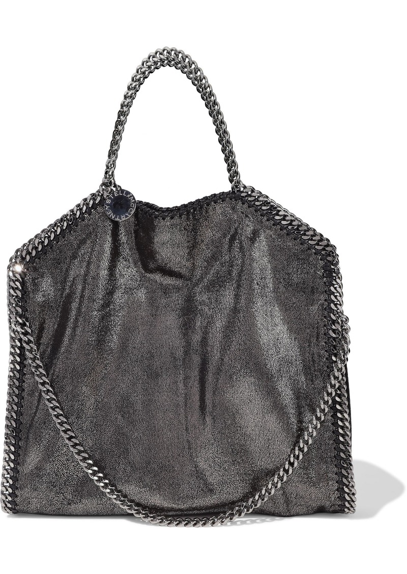 Stella Mccartney Woman Falabella Metallic Faux Brushed-leather Tote Anthracite