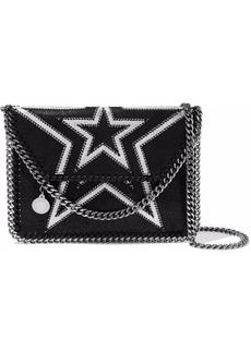 Stella Mccartney Woman Falabella Mini Embroidered Faux Brushed-leather Shoulder Bag Black