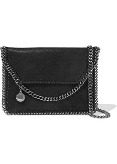 Stella Mccartney Woman Falabella Mini Faux Brushed-leather Shoulder Bag Black