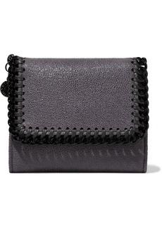 Stella Mccartney Woman Falabella Small Metallic Faux Brushed-leather Wallet Dark Purple