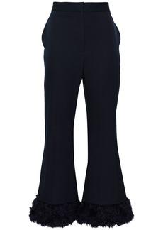Stella Mccartney Woman Faux Fur-trimmed Wool-twill Flared Pants Midnight Blue