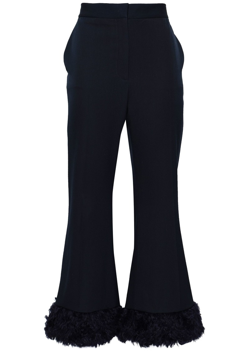 Stella Mccartney Woman Faux Fur-trimmed Wool-twill Flared Pants Midnight Blue