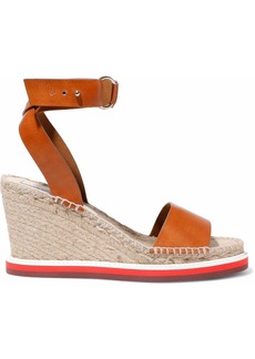 Stella Mccartney Woman Faux Leather Espadrille Wedge Sandals Tan
