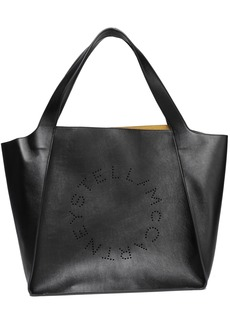 Stella Mccartney Woman Perforated Faux Leather Tote Black