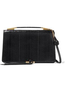 Stella Mccartney Woman Flo Medium Glossed Faux Croc-effect Leather Shoulder Bag Black