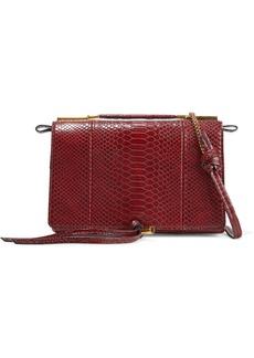 Stella Mccartney Woman Flo Small Faux Snake-effect Leather Shoulder Bag Claret