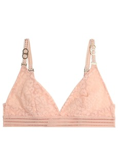 Stella Mccartney Woman Flocked Tulle Triangle Bra Peach
