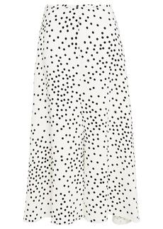 Stella Mccartney Woman Fluted Polka-dot Crepe Midi Skirt White
