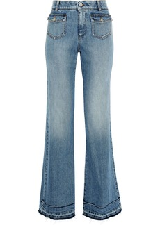 Stella Mccartney Woman Frayed Faded High-rise Bootcut Jeans Mid Denim