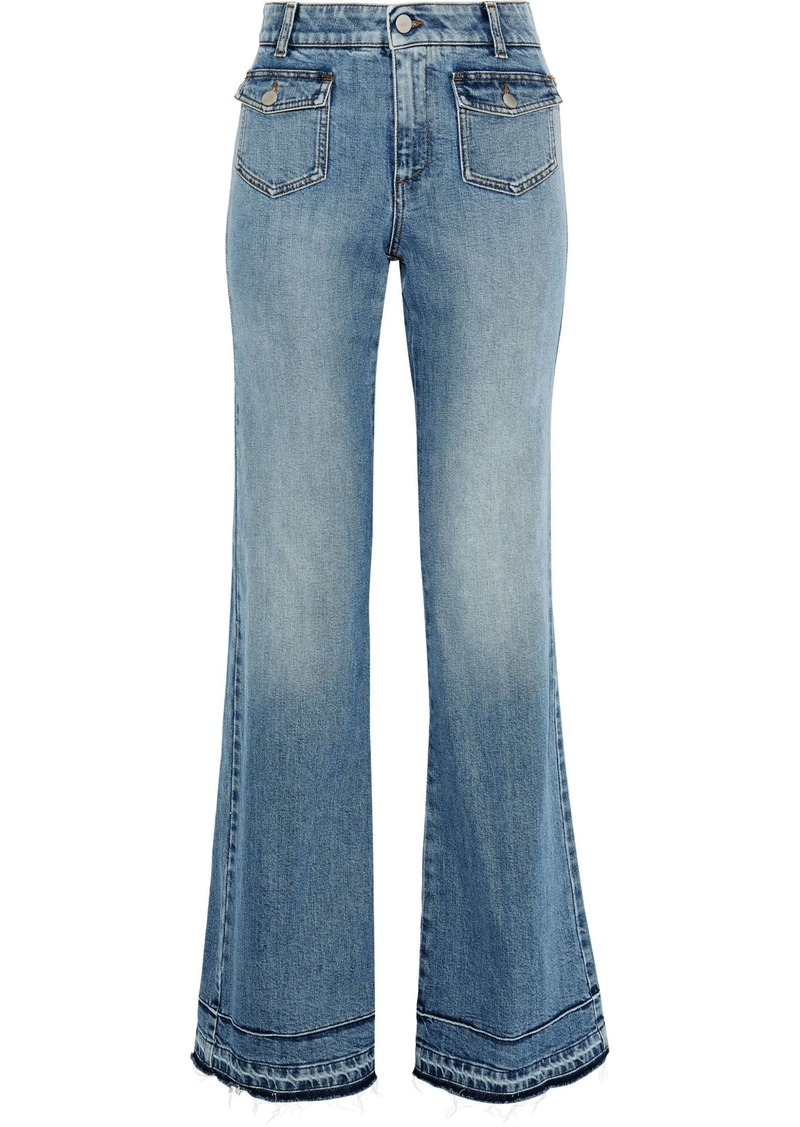 Stella Mccartney Woman Frayed Faded High-rise Bootcut Jeans Mid Denim