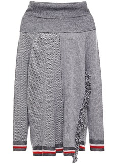 Stella Mccartney Woman Fringe-trimmed Herringbone Wool And Siilk-blend Sweater Gray
