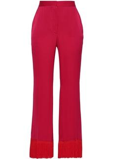 Stella Mccartney Woman Dessa Fringe-trimmed Satin-crepe Flared Pants Crimson