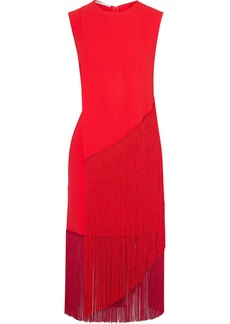 Stella Mccartney Woman Fringed Crepe Midi Dress Red