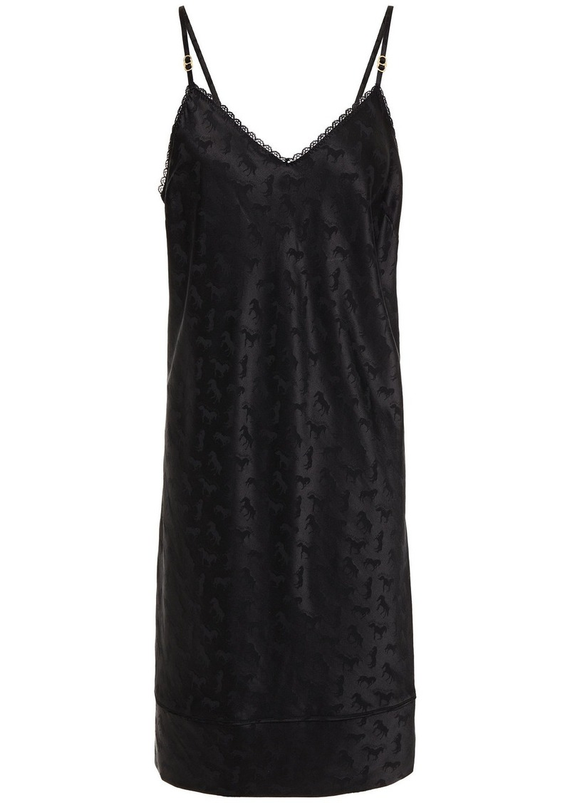 Stella Mccartney Woman Gloria Sprinting Silk-blend Satin-jacquard Chemise Black