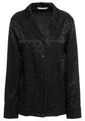Stella Mccartney Woman Gloria Sprinting Silk-blend Satin-jacquard Pajama Top Black