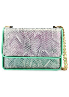 Stella Mccartney Woman Grace Snake-print Faux Suede Shoulder Bag Bright Green